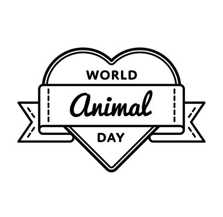 World Animal day emblem isolated vector illustration on white background.