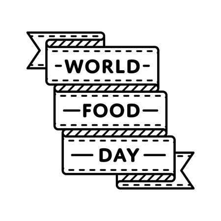 World Food Day emblem isolated vector illustration on white background. 16 October global holiday event label, greeting card decoration graphic element Ilustrace