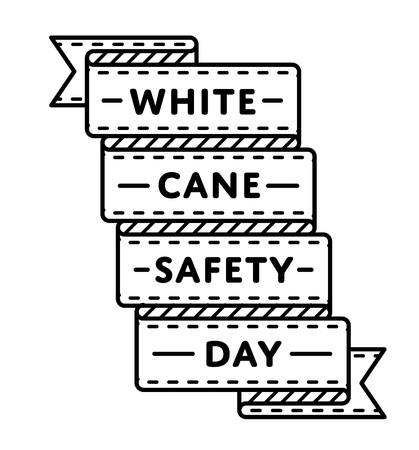 White Cane Safety day emblem isolated vector illustration on white background. 15 october world social holiday event label, greeting card decoration graphic element Ilustração