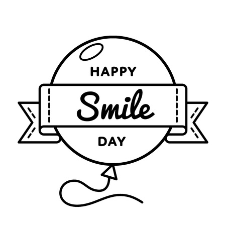 Happy Smile day emblem isolated vector illustration on white background. 6 october world positive holiday event label, greeting card decoration graphic element Illustration
