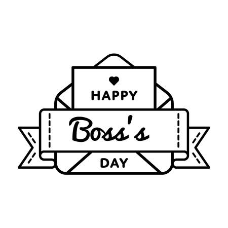 幸せな上司日エンブレム分離ベクトル イラスト白い背景の上。10 月 16 日世界の専門の休日イベント ラベル、グリーティング カードの装飾グラフィ