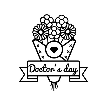 Happy Doctors day emblem isolated vector illustration on white background. 2 october world healthcare holiday event label, greeting card decoration graphic element Illustration