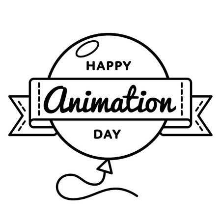 Happy Animation day emblem isolated vector illustration on white background. 28 october world positive holiday event label, greeting card decoration graphic element