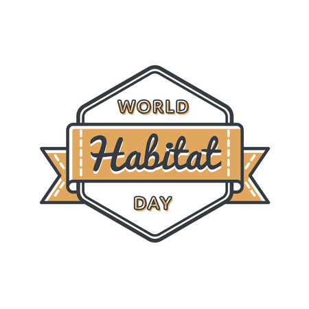World Habitat day emblem isolated vector illustration on white background. 2 october global holiday event label, greeting card decoration graphic element