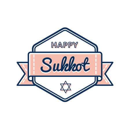 Happy Sukkot day emblem isolated vector illustration on white background. 5 october jewish traditional holiday event label, greeting card decoration graphic element