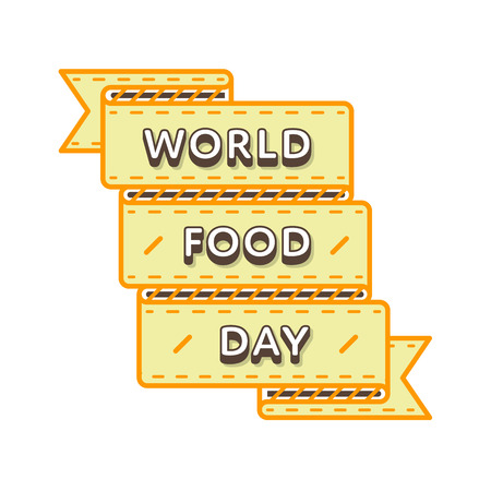 World Food Day emblem isolated vector illustration on white background. 16 october global holiday event label, greeting card decoration graphic element