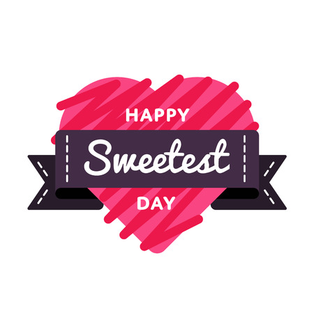 Happy Sweetest Day emblem isolated vector illustration on white background. 21 october american food holiday event label, greeting card decoration graphic element  イラスト・ベクター素材