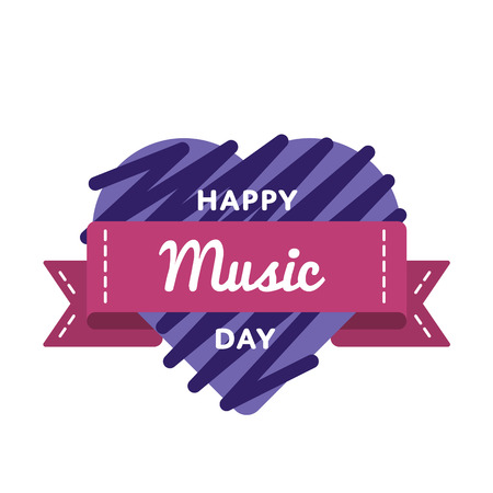 Happy Music day emblem isolated vector illustration on white background. 1 october world cultural holiday event label, greeting card decoration graphic element