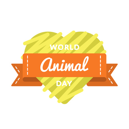 World Animal day emblem isolated vector illustration on white background. 4 october animal rights protection holiday event label, greeting card decoration graphic element