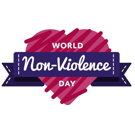 World Non Violence day emblem isolated vector illustration on white background. 2 october social holiday event label, greeting card decoration graphic element