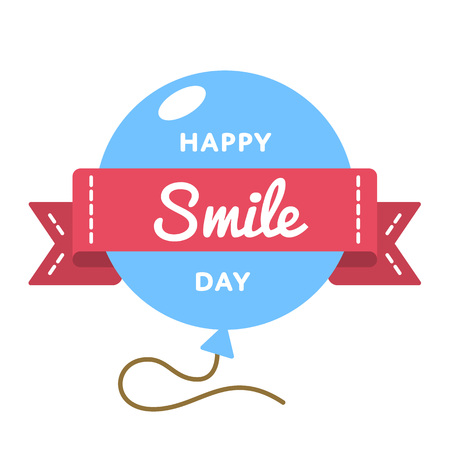 Happy Smile day emblem isolated vector illustration on white background. 6 October world positive holiday event label, greeting card decoration graphic element