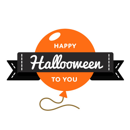 Happy Halloween day emblem isolated vector illustration on white background. 31 October world mystical holiday event label, greeting card decoration graphic element