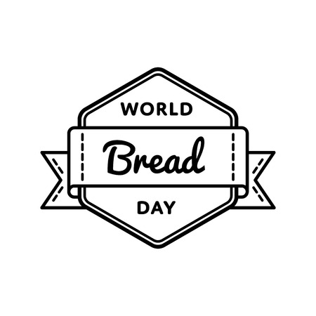 World Bread Day emblem isolated vector illustration on white background. 16 october food holiday event label, greeting card decoration graphic element Illustration