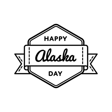 Happy Alaska day emblem isolated vector illustration on white background. 18 october american patriotic holiday event label, greeting card decoration graphic element Фото со стока - 87439395