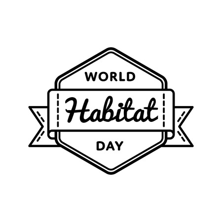 World Habitat day emblem isolated vector illustration on white background. 2 october global holiday event label, greeting card decoration graphic element Фото со стока - 87439398