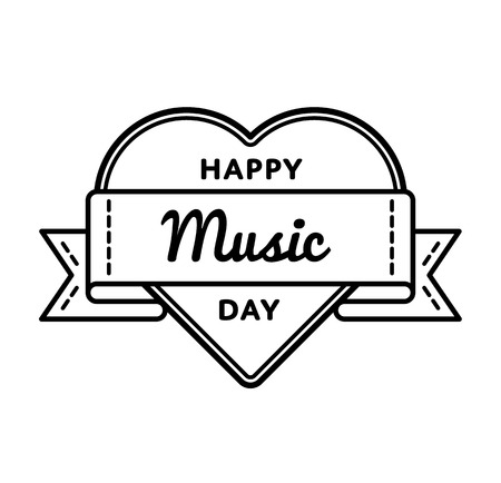 Happy Music day emblem isolated vector illustration on white background. 1 October world cultural holiday event label, greeting card decoration graphic element Illustration