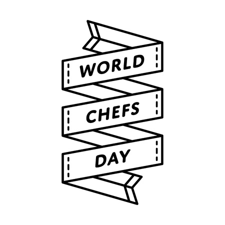 World Chefs Day emblem isolated vector illustration on white background. 20 october global professional holiday event label, greeting card decoration graphic element