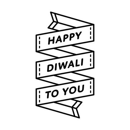 Happy Diwali to You emblem isolated vector illustration on white background. 19 october indian festival event label, greeting card decoration graphic element