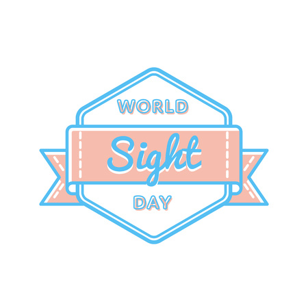 World Sight day emblem isolated vector illustration on white background. 12 october world healthcare holiday event label, greeting card decoration graphic element