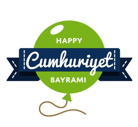 Happy Cumhuriyet Bayrami emblem isolated vector illustration on white background. 29 october turkish national holiday event label, greeting card decoration graphic element Illustration