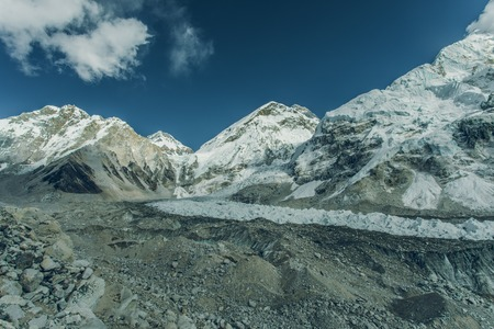 Highest mountain in the world. Panoramic view of Himalaya mountain. Way to Everest base camp, Khumbu valley, Sagarmatha national park. Stock Photo - 90105268