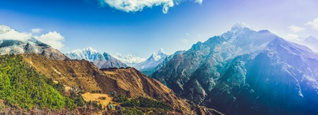 Highest mountain in the world. Panoramic view of Himalaya mountain. Way to Everest base camp, Khumbu valley, Sagarmatha national park. Stock Photo - 90105270