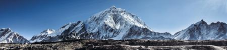 Highest mountain in the world. Panoramic view of Himalaya mountain. Way to Everest base camp, Khumbu valley, Sagarmatha national park. Stock Photo - 90104313