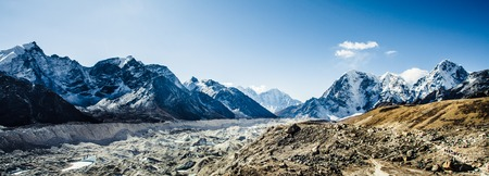 Highest mountain in the world. Panoramic view of Himalaya mountain. Way to Everest base camp, Khumbu valley, Sagarmatha national park.