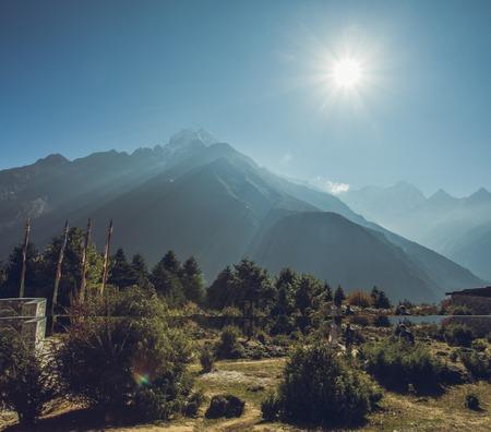 Highest mountain peaks. Panoramic view of Himalaya mountain. Way to Everest base camp, Khumbu valley, Sagarmatha national park.