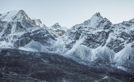 Snow mountain peaks. Panoramic view of Himalaya mountain. Way to Everest base camp, Khumbu valley, Sagarmatha national park. Stock Photo - 90358406