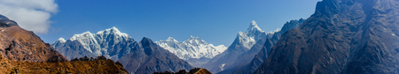 Highest mountain in the world. Panoramic view of Himalaya mountain. Snow mountain peaks. Way to Everest base camp, Khumbu valley, Sagarmatha national park. Stock Photo