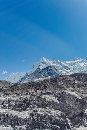Snow mountain peaks. Panoramic view of Himalaya mountain. Way to Everest base camp, Khumbu valley, Sagarmatha national park. Stock Photo - 90358352