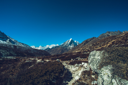 Highest mountain in the world. Panoramic view of Himalaya mountain. Snow mountain peaks. Way to Everest base camp, Khumbu valley, Sagarmatha national park. Stock Photo