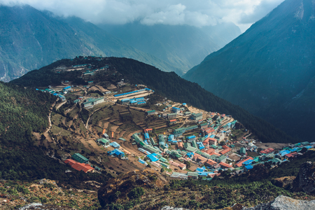 Namche bazaar and mount thamserku - way to everest base camp, Khumbu valley, Sagarmatha national park