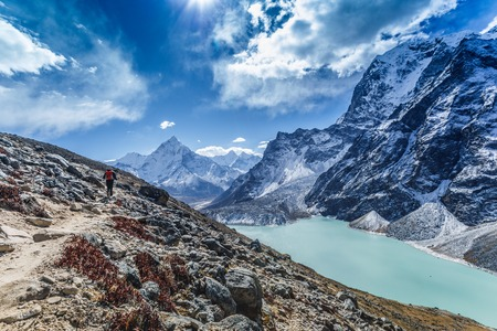 Himalayan mountain lake on the trek on Everest base camp. One of the high mountain lakes Chola