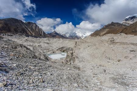 Khumbu Glacier near Everest base camp on Himalayan valley, Nepal