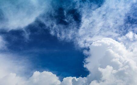 Blue sky with plain white cloud
