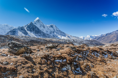 Mountain landscape panoramic view with blue sky