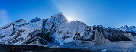 Everestr mountain landscape with beautiful nature. Himalaya mountain view, Sagarmatha national park, Nepal. Stock Photo