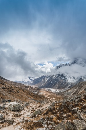Himalayan mountain lake on the trek on Everest base camp. One of the high mountain lakes Gokyo