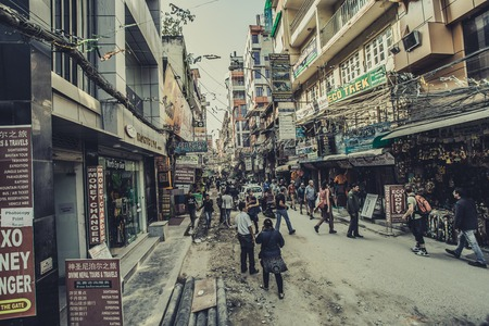 ATHMANDUNEPAL - NOVEMBER 14, 2017: Shopping street with colorful decorations in Thamel district of Kathmandu, Nepal
