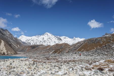 Himalayan mountain lake on the trek on Everest base camp. One of the high mountain lakes Gokyo Stock Photo - 91274538