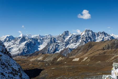 Snow mountain peaks on Ama Dablam. Panoramic view of Himalaya mountain. Way to Everest base camp, Khumbu valley, Sagarmatha national park. Stock Photo - 92393164