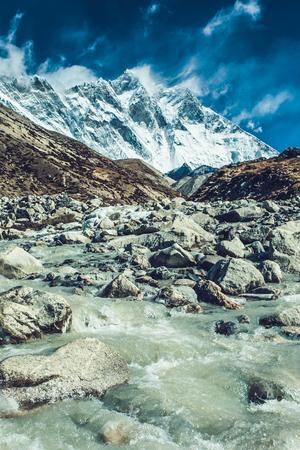 Mountain landscape with beautiful nature. Himalaya mountain view, Sagarmatha national park, Nepal.