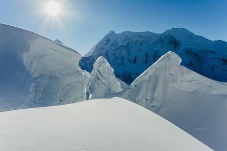 Island Peak Glacier on Himalayan mountain range Stock Photo