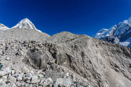 Khumbu Glacier near Everest base camp on Himalayan valley, Nepal
