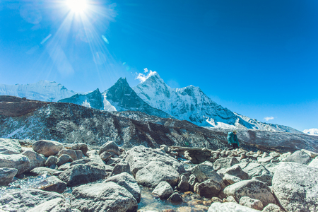 Snow mountain peaks on Ama Dablam. Panoramic view of Himalaya mountain. Way to Everest base camp, Khumbu valley, Sagarmatha national park.
