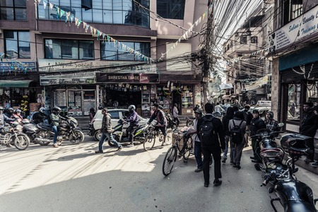 KHATMANDUNEPAL - NOVEMBER 14, 2017: Shopping street with colorful decorations in Thamel district of Kathmandu, Nepal