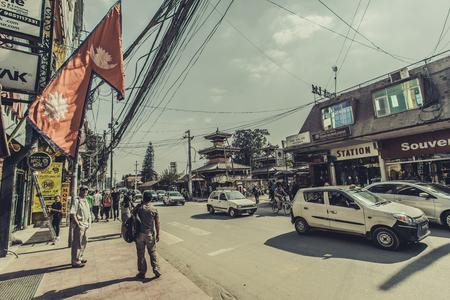 KATHMANDUNEPAL - NOVEMBER 14, 2017: Shopping street with colorful decorations in Thamel district of Kathmandu, Nepal