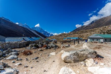 Mountain village landscape with beautiful nature. Himalaya mountain, Sagarmatha national park, Nepal.
